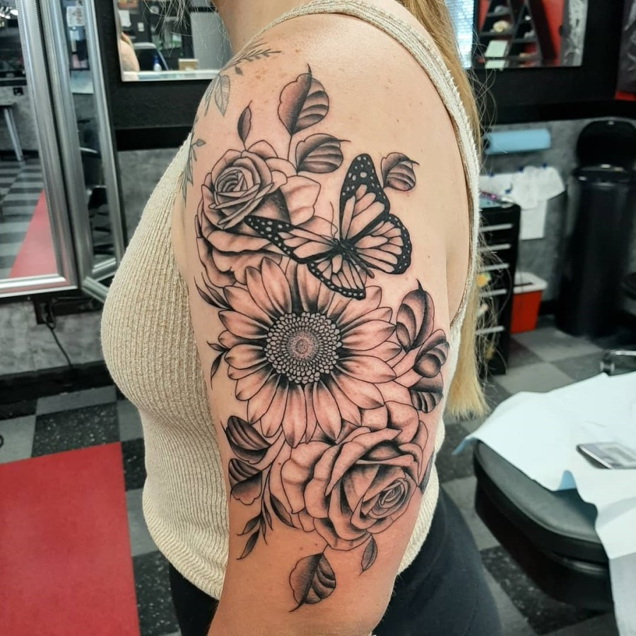 June Birth Flower Tattoos 2021072605 - June Birth Flower Tattoos: Honeysuckle and Rose Tattoo