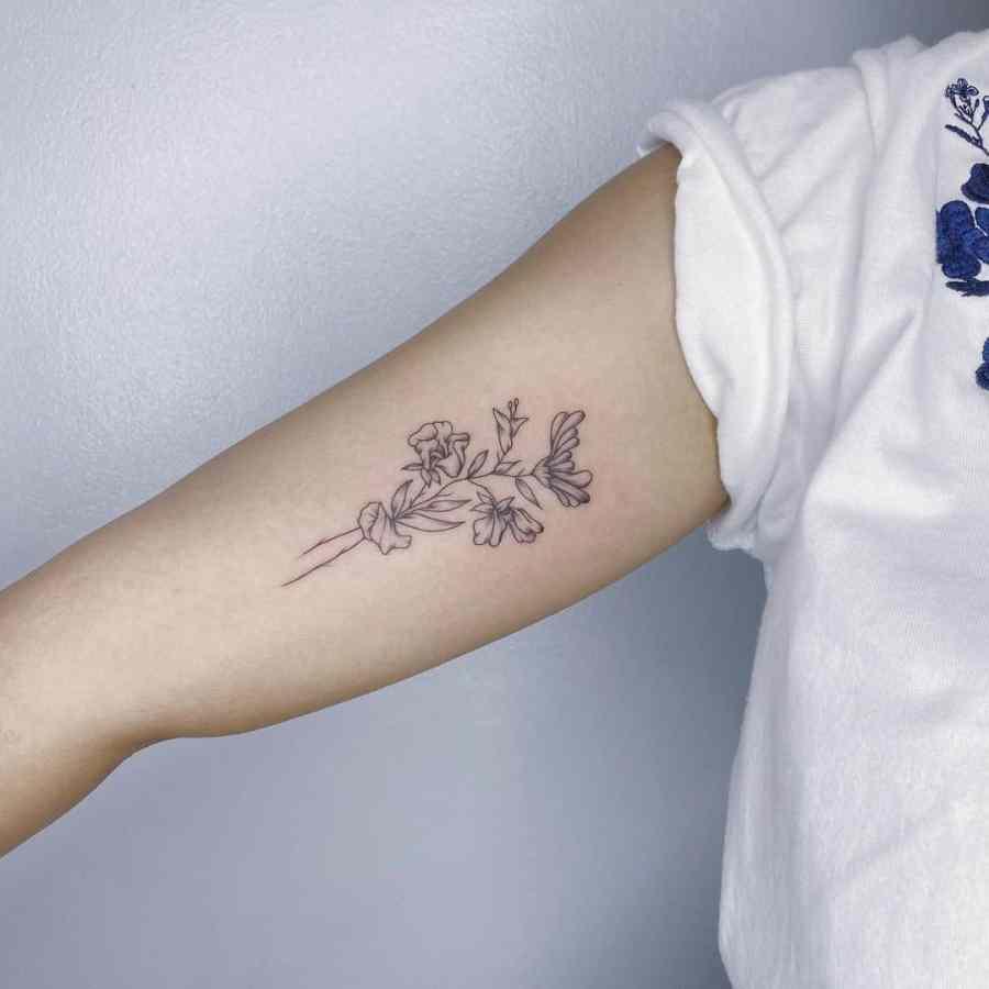 June Birth Flower Tattoos 2021072610 - June Birth Flower Tattoos: Honeysuckle and Rose Tattoo
