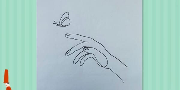 One line drawing Hand and Butterfly-2021070403