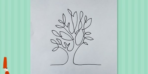 One line drawing tree-2021070303