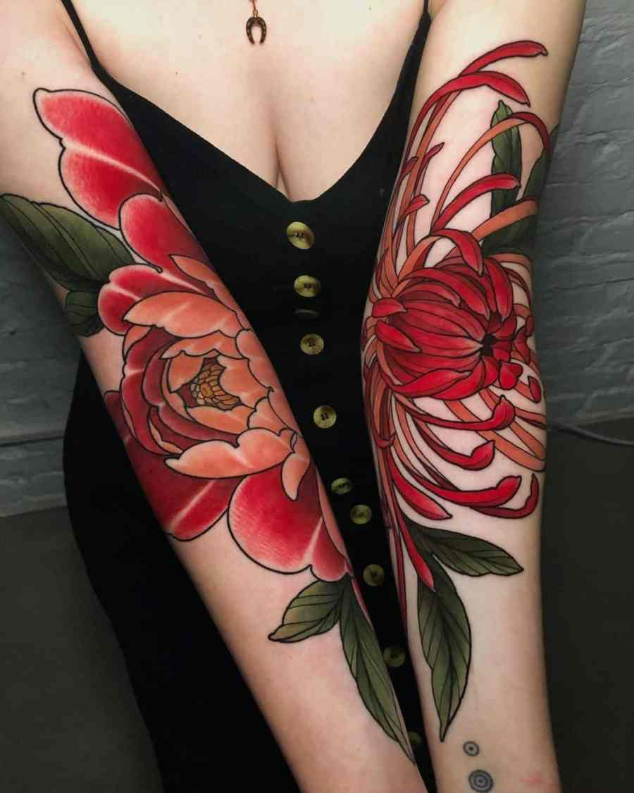 November Birth Flower Tattoo 2021080503 - November Birth Flower Tattoo: Chrysanthemum Tattoo