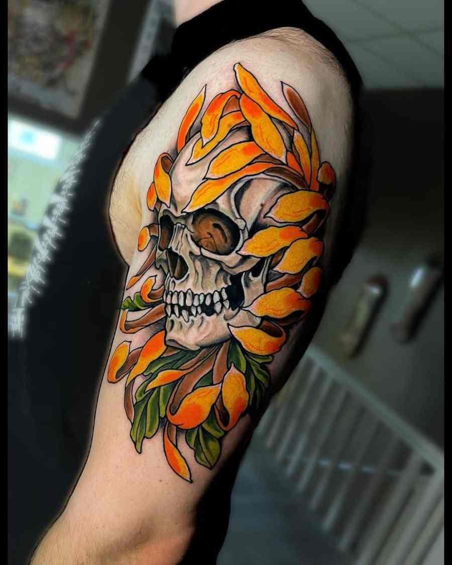 November Birth Flower Tattoo 2021080505 - November Birth Flower Tattoo: Chrysanthemum Tattoo