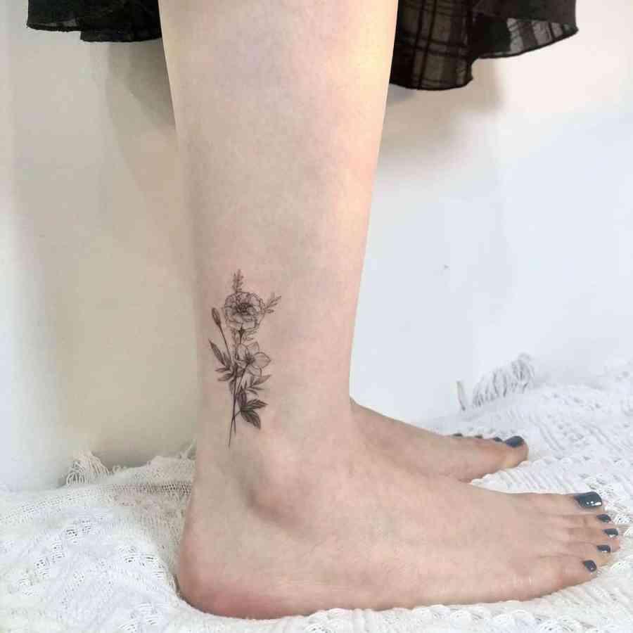 October Birth Flower Tattoos 2021080201 - October Birth Flower Tattoos: Marigold and Cosmos