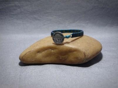 Single wrap bracelet tubes Hematite Blue and Green