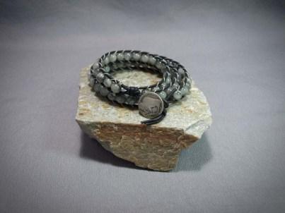 3 wrap bracelet 8mm Silver Cat's Eye Quartz