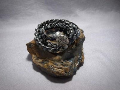 3 wrap bracelet 8mm Larvikite