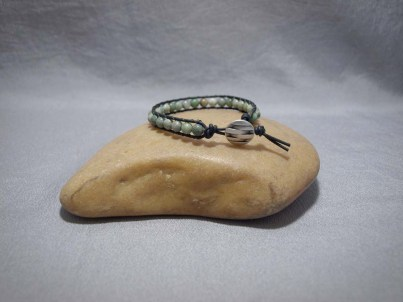 Single wrap bracelet 6mm Matte African Green Opal