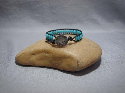 Single wrap bracelet Large Turquoise Rice