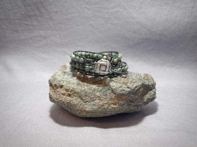 3 wrap bracelet 6mm African Turquoise