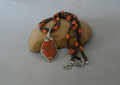 2 Strand Bronzite & Sponge Coral Necklace with Sterling Silver Wired wrapped Cuprite stone 22 in