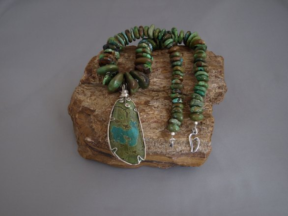 Graduated Chinese Turquoise Necklace with Sterling Silver wire wrapped Chinese Turquoise Stone 19.5 in.