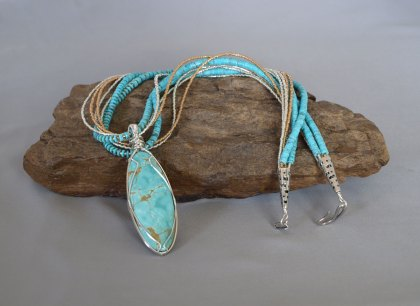 7 Stand US Turquoise (NM) Necklace with Removable Hand Wrapped Pendent 23 in.