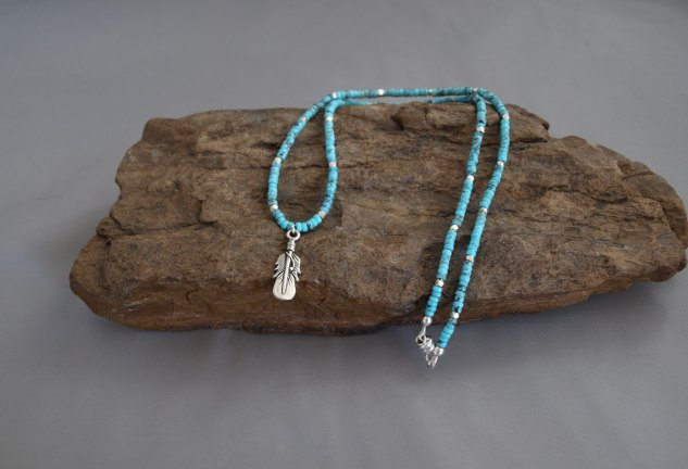 US Turquoise, with Sterling Silver Spacers & Sterling Silver Feather Necklace 18.5 in.