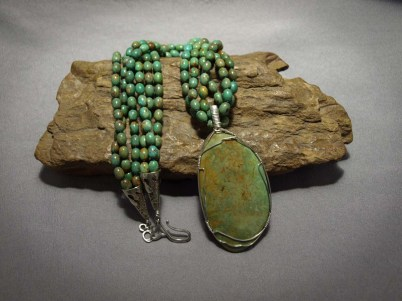 3 strand Necklace Turquoise & Turquoise pendent from Sonora Mexico