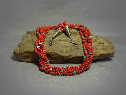 5 strand Necklace Apple Coral & Sleeping Beauty Turquoise