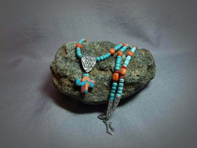 Single Strand Necklace Sleeping Beauty Turquoise, Coral, Orange Sponge Coral & Cross Inlay pendent