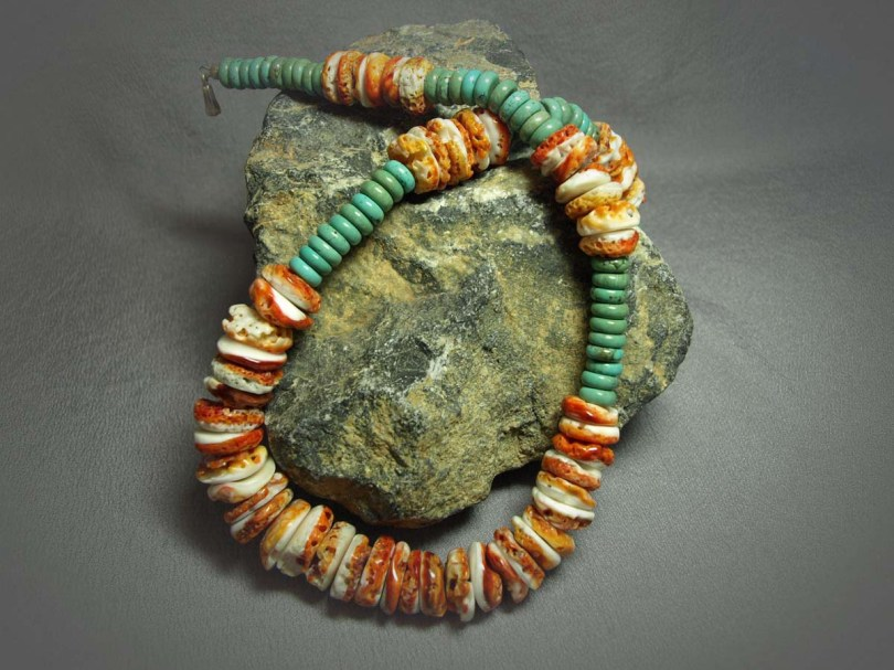 Single Strand Necklace Turquoise Rondell & Spiny Oyster