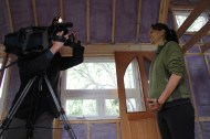 Starting the tour with Nicky Duenkel, Tiny Home owner.