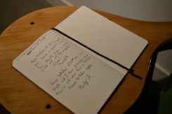 Visitors wish Thoreau a happy 200th on a replica of his desk.
