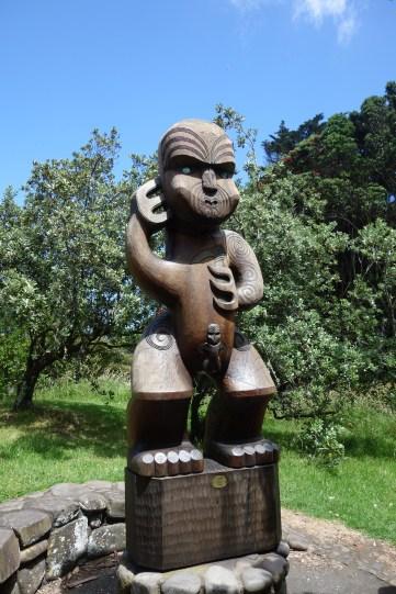 Maori sculpture at Karekare beach
