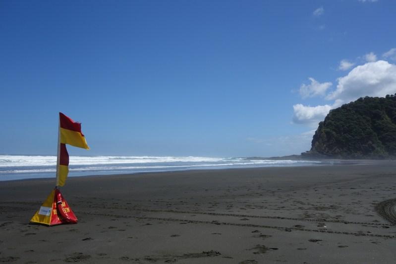 Karekare beach where you must swim between the flags as it's so treacherous