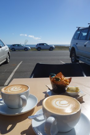 Coffee and savoury muffin in Wynyard