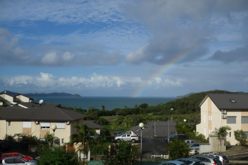Rainbow over the ocean from the balcony