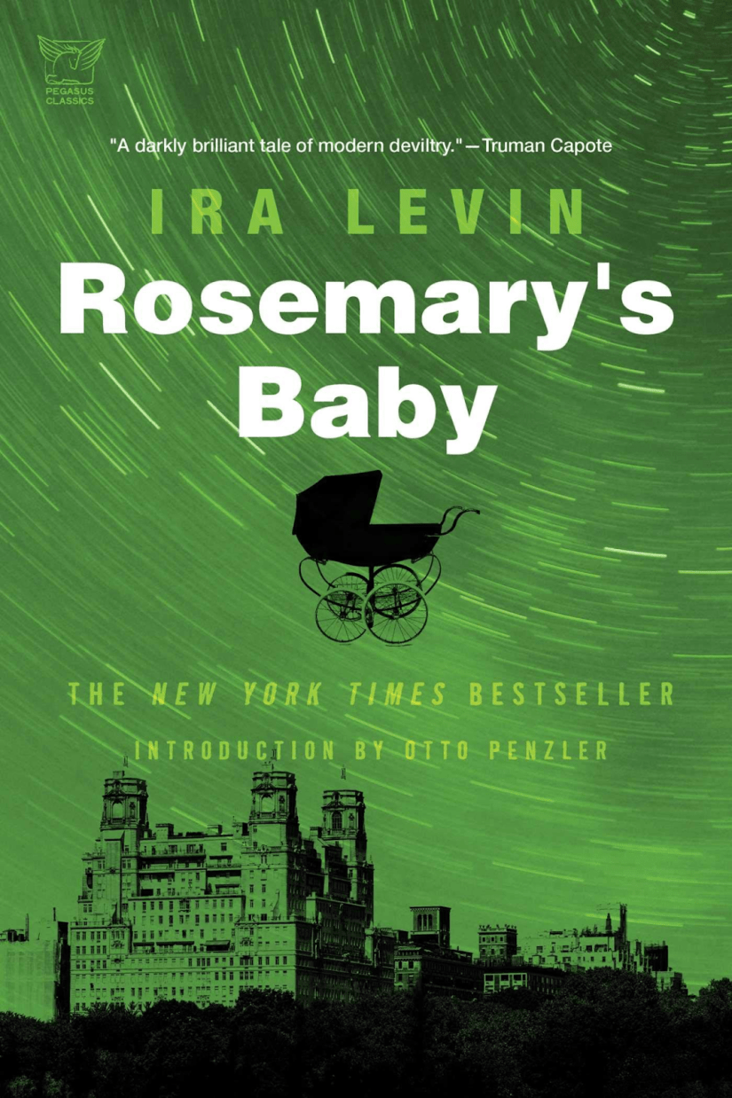 Cover of Rosemary's Baby; shows a cityscape with a baby buggy/pram floating in the air above the city