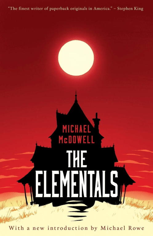 Cover of The Elementals; shows the silhouette of a house; the house is on a beach and the sun is in the sky