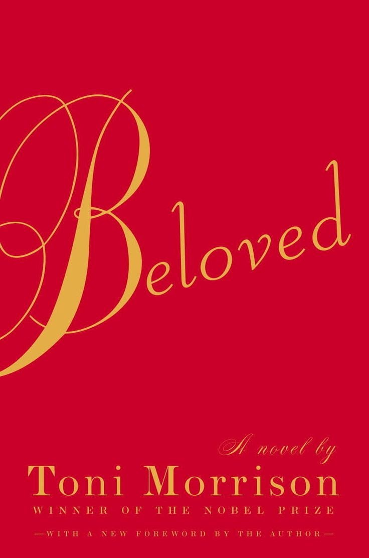 Cover of Beloved By Toni Morrison. Cover is red with gold text and no images.