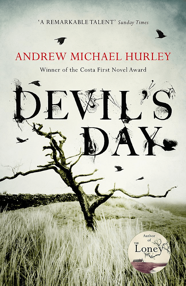 Cover of Devil's Day by Andrew Michael Hurley. Cover shows a leafless tree in the middle of a grass field.