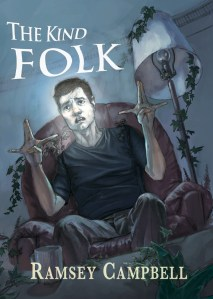 Cover of The Kind Folk by Ramsey Campbell, featuring a man sitting in a chair making an impossible symbol with his hands. His thumbs are tucked into his palms, his middle and ring fingers are pointing straight up to the ceiling and are pressed tightly together, and his index fingers and pinkies are stretched out to the sides at a 90 degree angle from the middle and ring fingers.