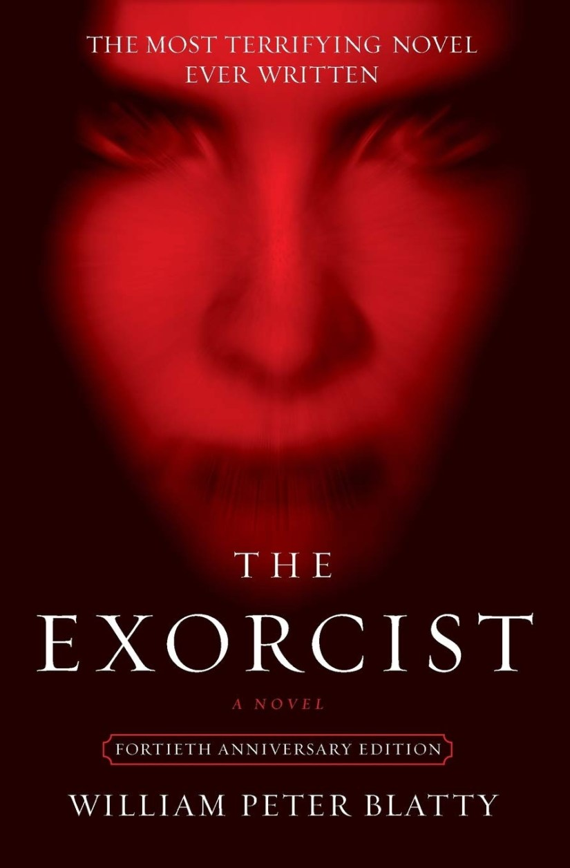 Cover of The Exorcist by William Peter Blatty. Cover shows a slightly blurred demonic face that is tinted red, against a black background.