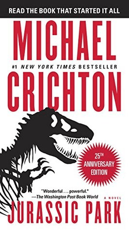 Cover of Jurassic Park by Michael Crichton. Cover shows a silhouette of a Tyrannosaurus Rex skeleton against a stark white background.