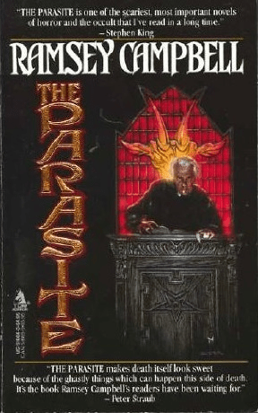 Cover of The Parasite by Ramsey Campbell. Cover shows a man dressed like a priest at an apparently satanic black-colored alter featuring an inverted pentacle. An image of Baphomet's head with horns appears on the stained glass window behind the man. The stained glass is tones of orange and red.