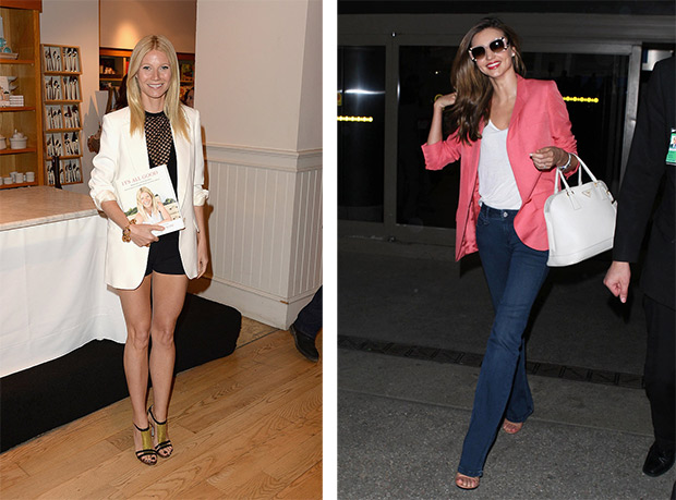 Ways to wear a blazer jacket Gwyneth Paltrow; Miranda Kerr