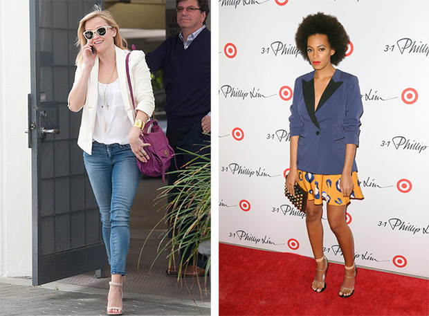 Reese Witherspoon wearing a jacket with jeans; Solange Knowles with skirt