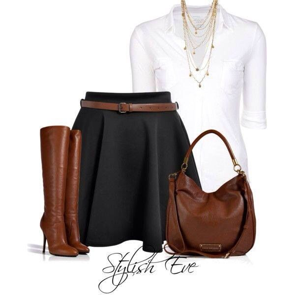 Brown footwer and handbag with black skirt and white blouse