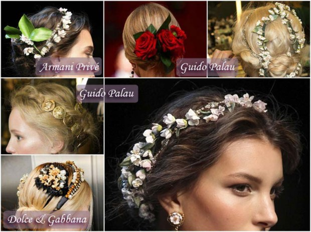 Hairstyle with accessories New Year 2016