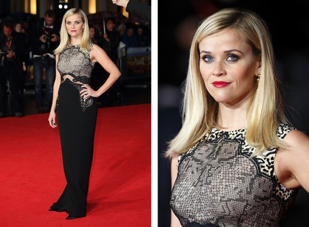 Reese Witherspoon outfit black animal print lace dress
