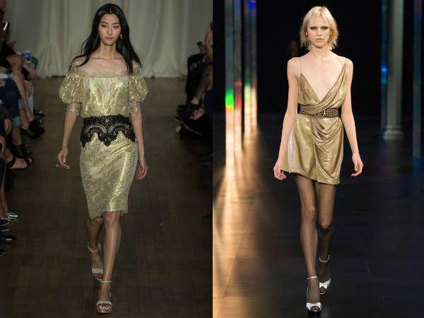Gold metallic evening dress