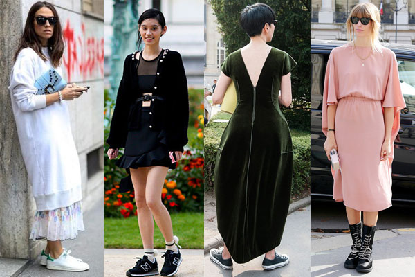 Street style 2016 dresses with sneakers