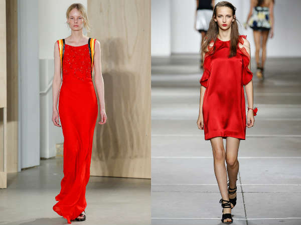 red maxi and short