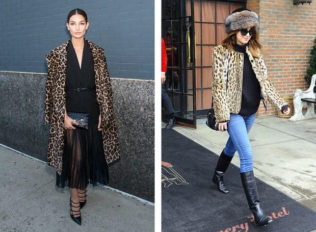 Lily Aldridge and Dakota Johnson wear leopard print