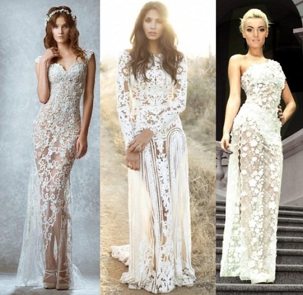 Lace transparent wedding dresses