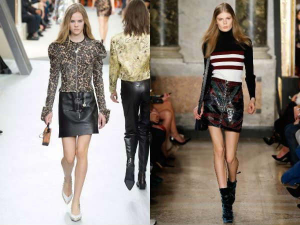 Short trendy faux leather skirt