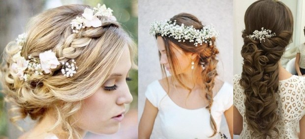 2015 wedding hairstyles with Gypsophyla