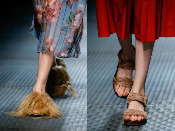 Flat sole trendy fur