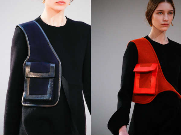 leather with knit shoulder