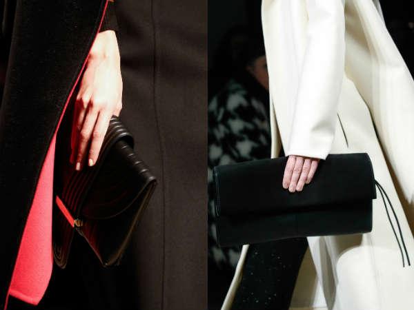 Black leather envelope bag